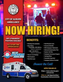 Auburn City Ambulance Now Hiring