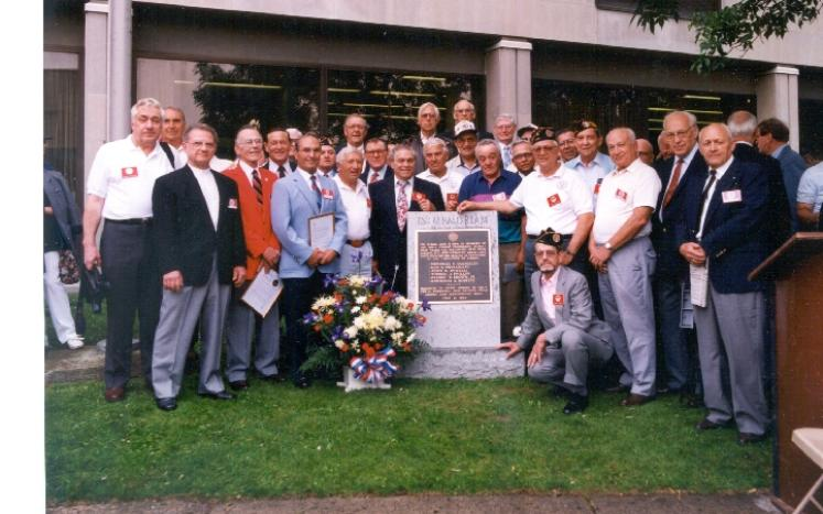 Picture of the 50th anniversary of the 299th Combat Engineer BAttalion members from 1994 as it appeared in The Citizen newspaper