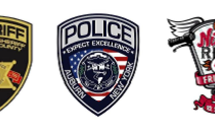 Cayuga County Sheriff, Auburn Police Dept. & Nick's Ride 4 Friends logos