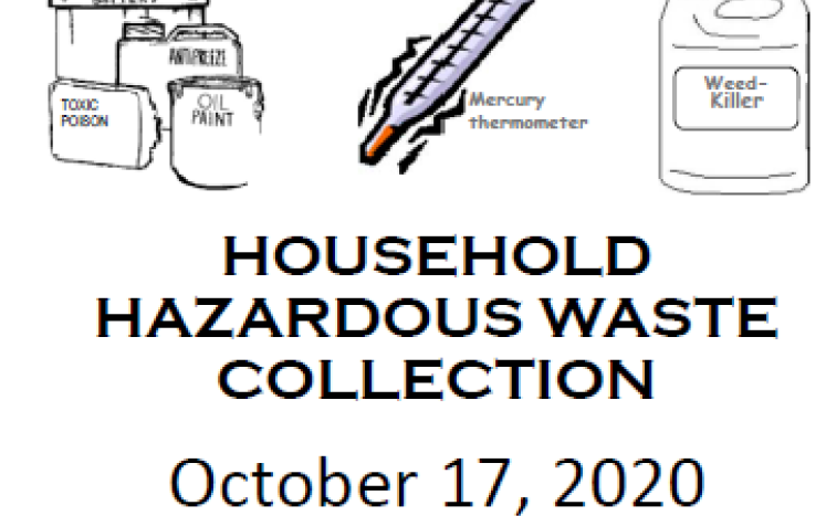 Household Hazardous Waste Recycling Event October 17, 2020