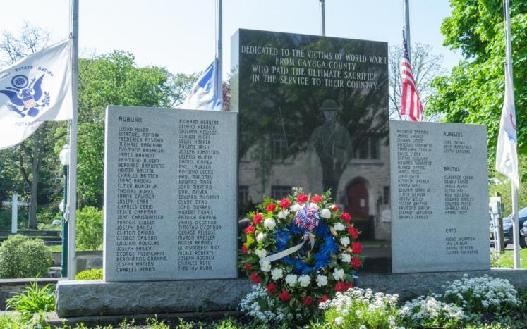Commemorative Wreath Placed at Veterans Memorail Park, Memorial Day 2020